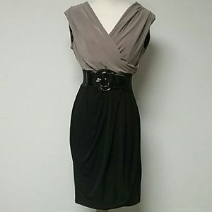 Black and Tan Office Dress